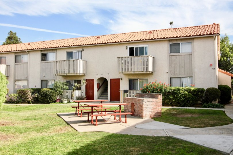 Sunny day front view with tables, Villa De Anita Community, Chula Vista, CA