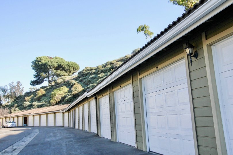 green trees and big garage complex in Woodland Hills