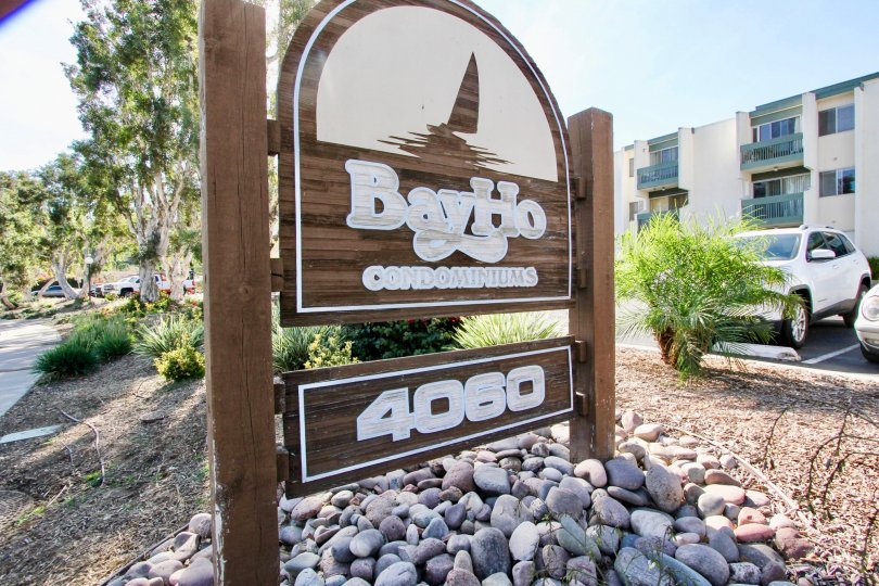 A wooden sign with white paint at the Bay Ho community in Clairemon Mesa California