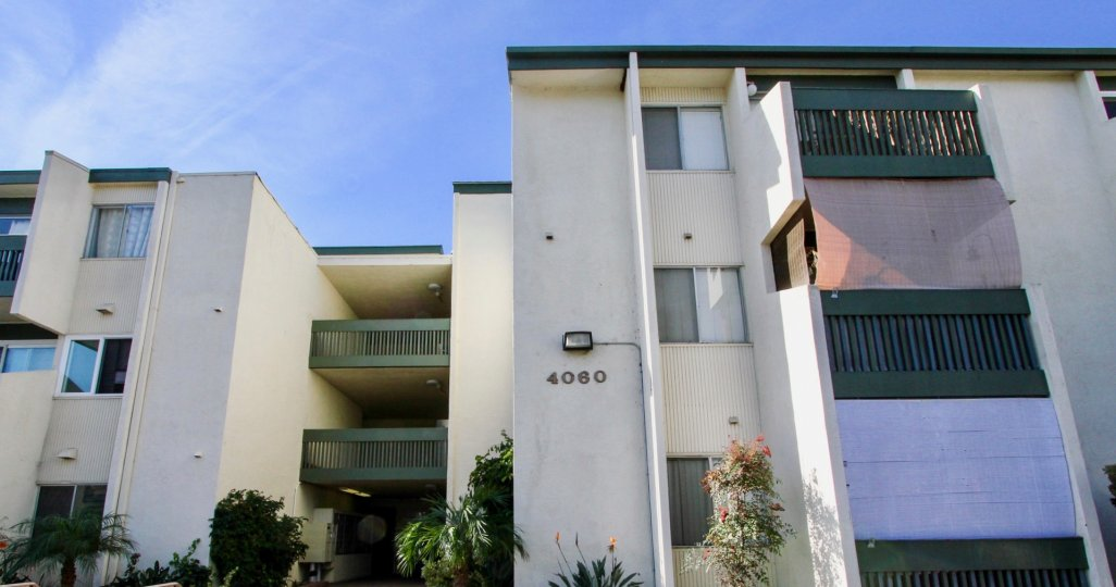 Multiple story residential buildings at Bay Ho in Clairemont Mesa California