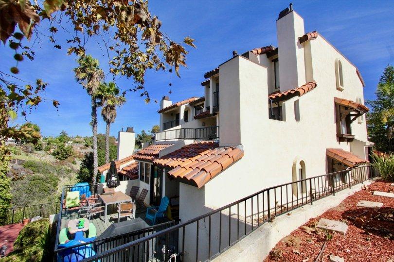 Bay Vista  ,: Clairemont Mesa  ,: California, white building,black hand rail