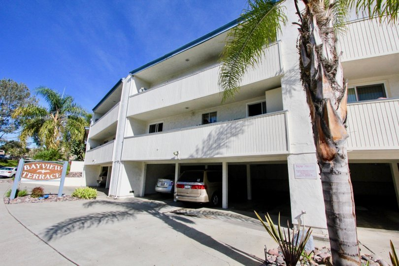 A spacious carprking with trees around in front of a house in Bayview Terrace of Clairemont Mesa