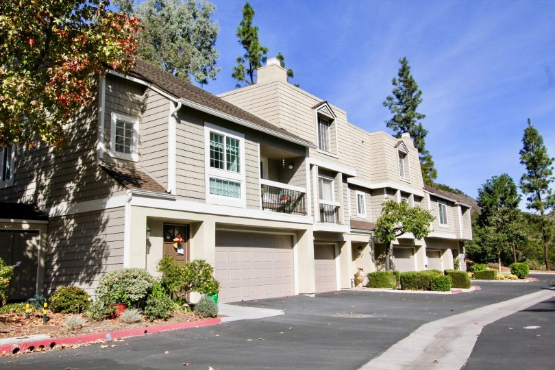Drive and residential building with built in garages at Canyon Haven in Clairemont Mesa california