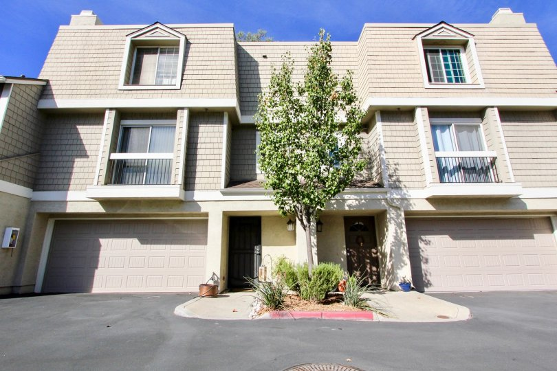 Three story housing with attached garages at Canyon Haven in Clairemont Mesa California