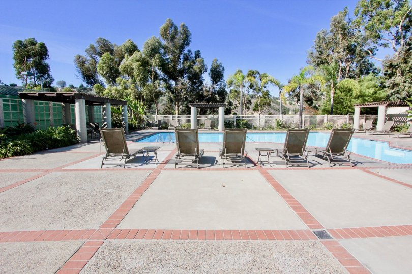 Canyon Rim, Clairemont Mesa  , California,blue sky,pool side bed