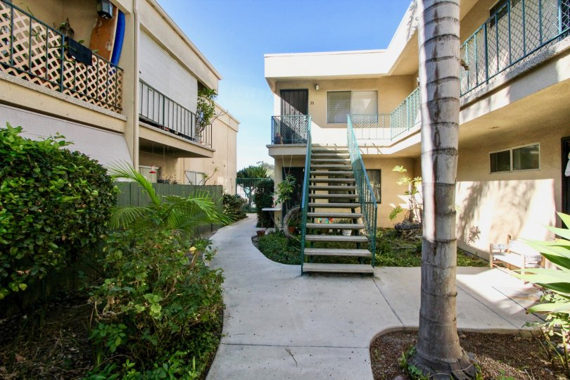 Walkway with staircase in Cole Manor South, Clairemont Mesa, CA