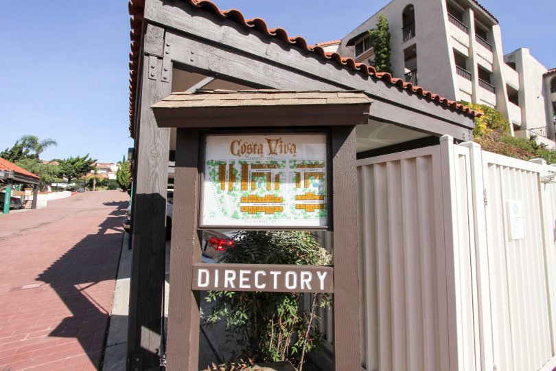 Directory near driveway at Costa Viva in Clairemont Mesa California