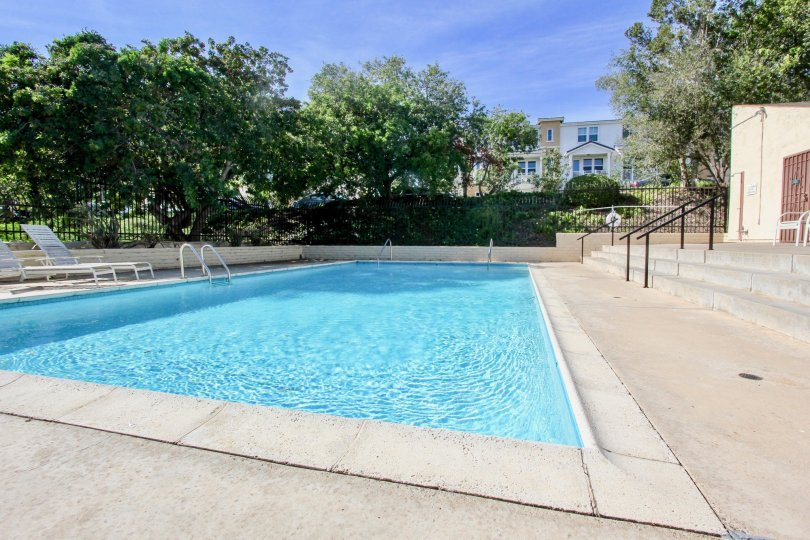 Forest Park Plaza ,Clairemont Mesa , California,swimming pool,blue sky