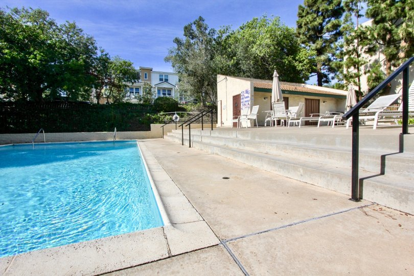 Forest Park Plaza  , Clairemont Mesa , California,swimming pool,black hand rail