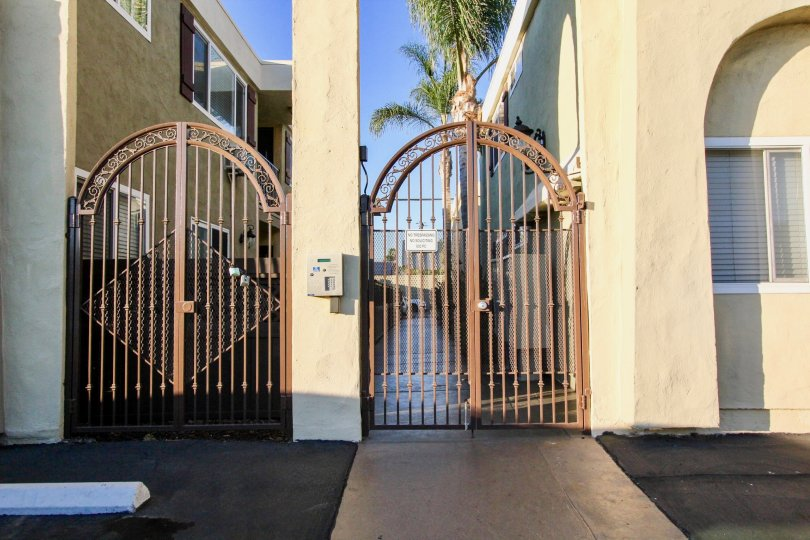 Iron security gates at Heritage Park East in Clairemont Mesa California