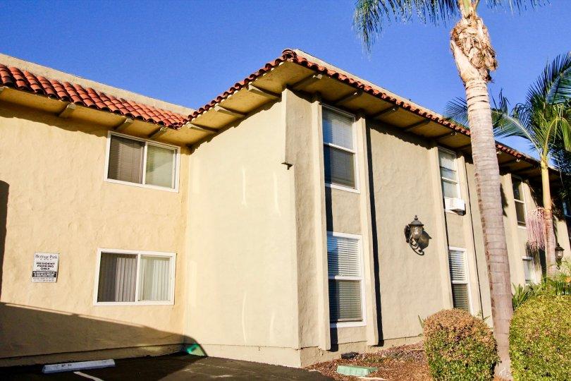Heritage Park East  , Clairemont Mesa , California,blue sky,beige building,