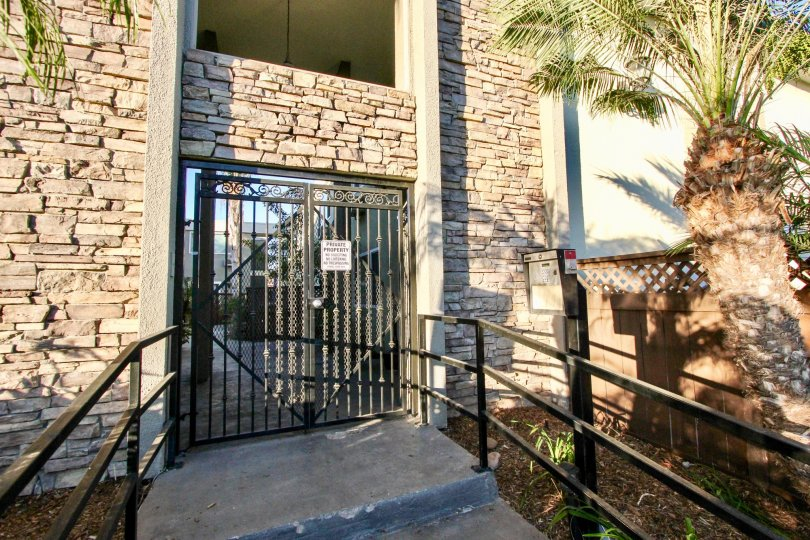 Heritage Parks West's secure entrance, with a convenient call box for guest access.