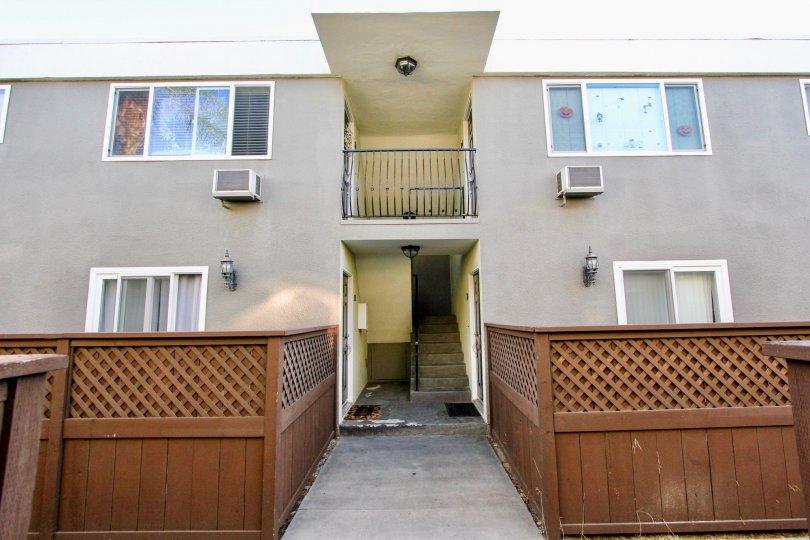 Heritage Park West , Clairemont Mesa  , California, grey building, brown partition
