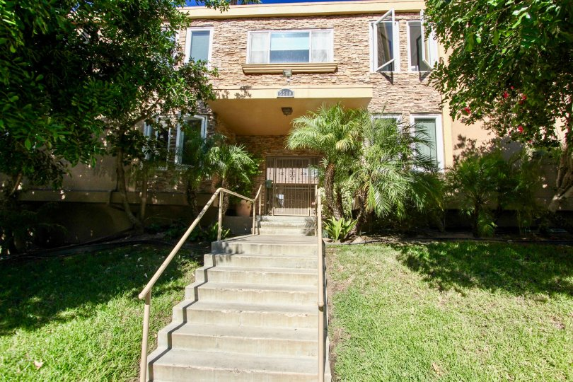 The long entrance steps of Adelaide Villas with grass on both sides