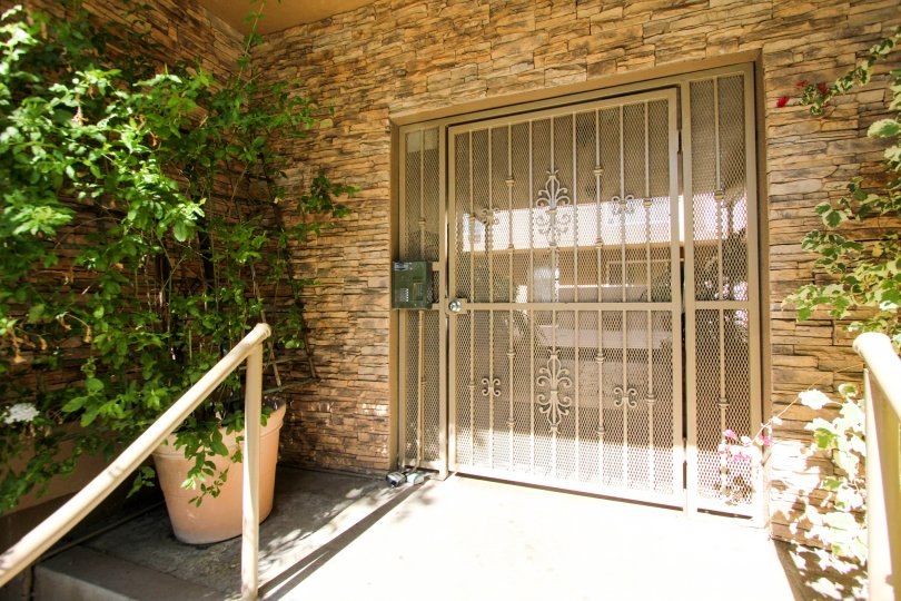 Secured gateway entrance to the Adelaide Villas in College Area California