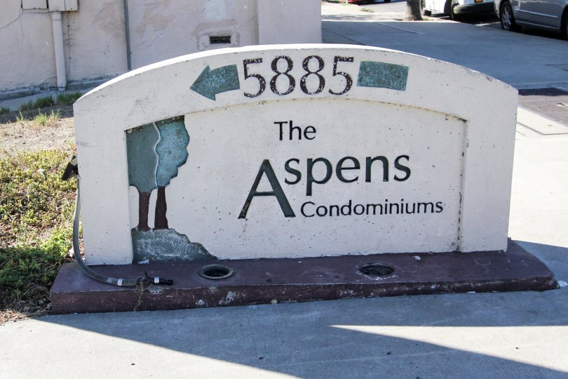 Sign for 5885 of The Aspens Condominiums located within the Aspens community area of College Area, California