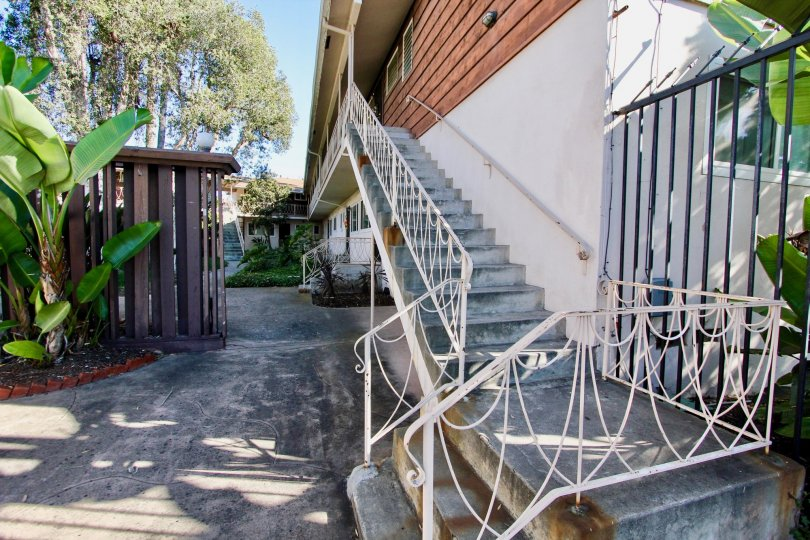Stairway along side of residence and driveway at College Gardens in College Area California