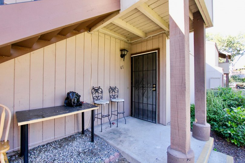Private and secluced covered entryway to a unit in College Grove Village in College Area, California