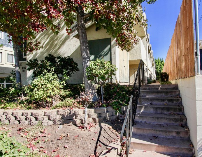 A stairway that leads to a residential building at College Way in College Area California