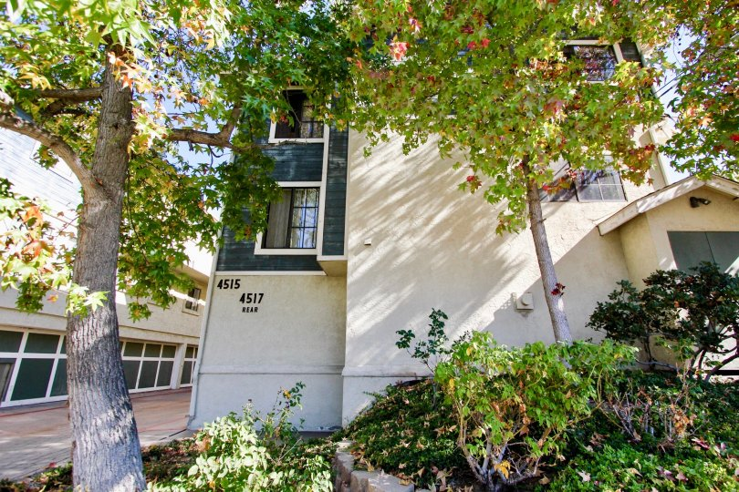 Three story apartment complex with trees and plants at College Way in College Area California