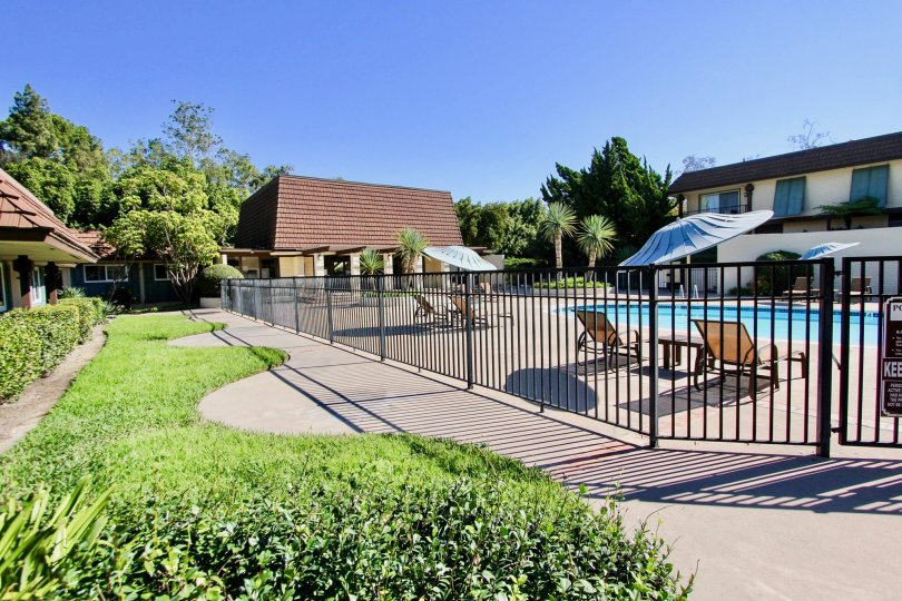 Collwood Park  , College Area  ,: California,black fence,swimming pool