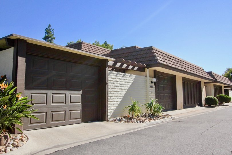 View of garages and landscaping at Collwood Park in College Area, California