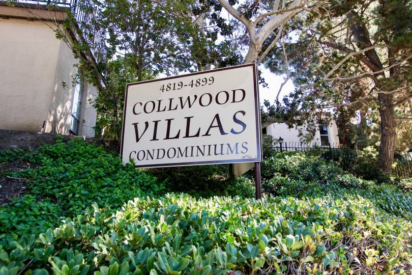 The Collwood Villas condominiums sign stands in the sun on a landscaped hillside in College Area, California.