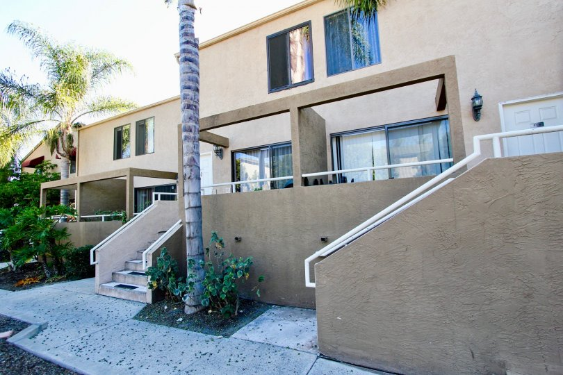 Residential units with attached stairways at Glenridge in College Area California