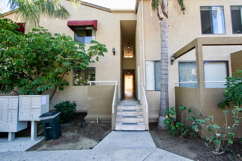 Two story residential building with stairway in Glenridge in College Area California