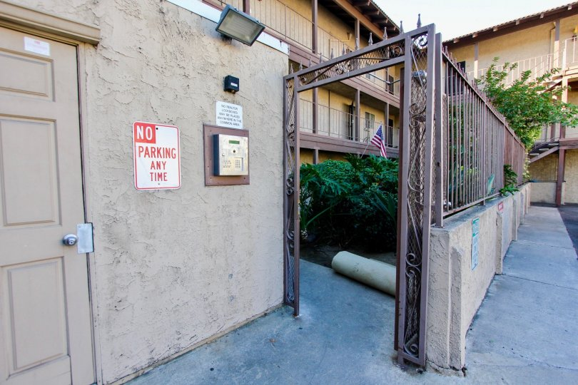 Entrance to residential building at Menlo Ave Condos in College area California