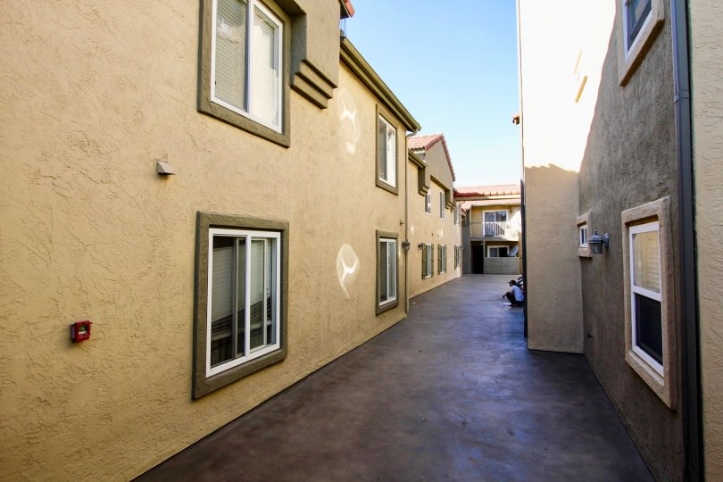Alleyway between residential buildings at Menlo Village in College Area California