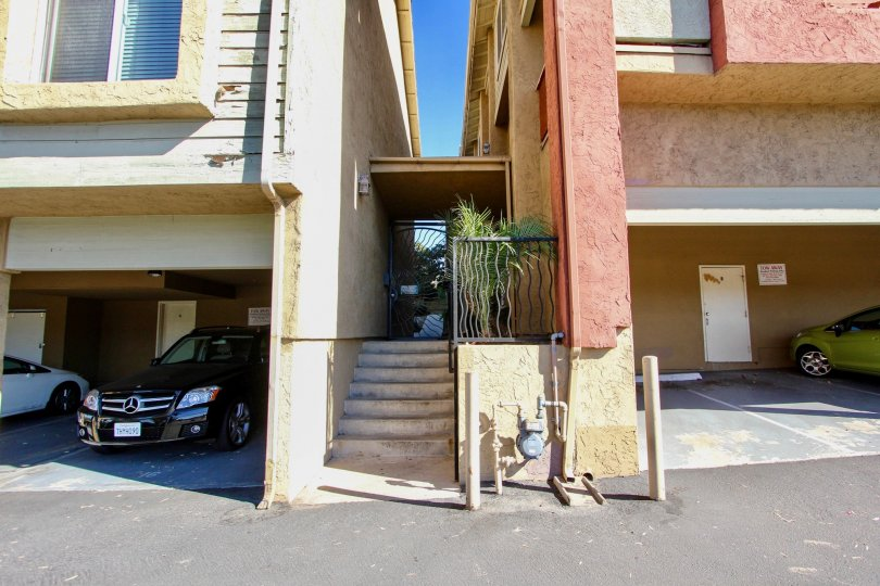 Stairway leading between two residential buildings at Saranac Villas in College Area California