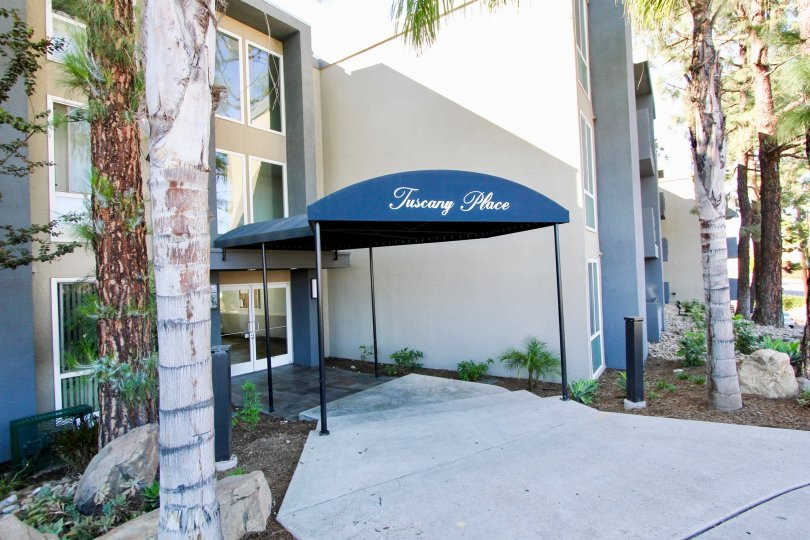 Canopy near front entrance of residential building at Tuscany Place in College Area California