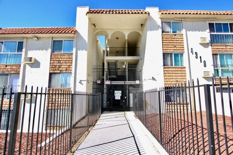 Three story housing structure at Villa Madrid in College Area California