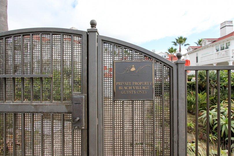 Private Property sign at Beach Village at the Del in Coronado, California.