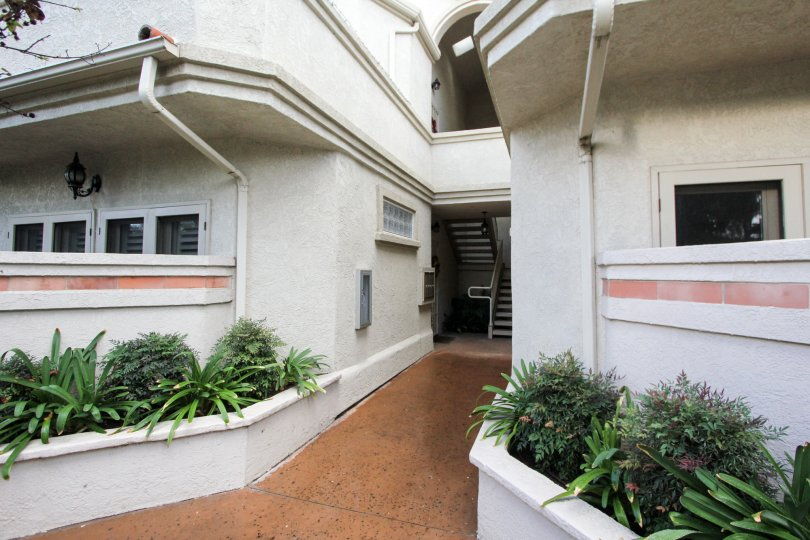 Housing and walkway at Crown Condos in Coronado California