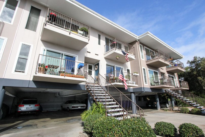 Balconies and lovely apartments in Glorietta Bay, Coronado CA