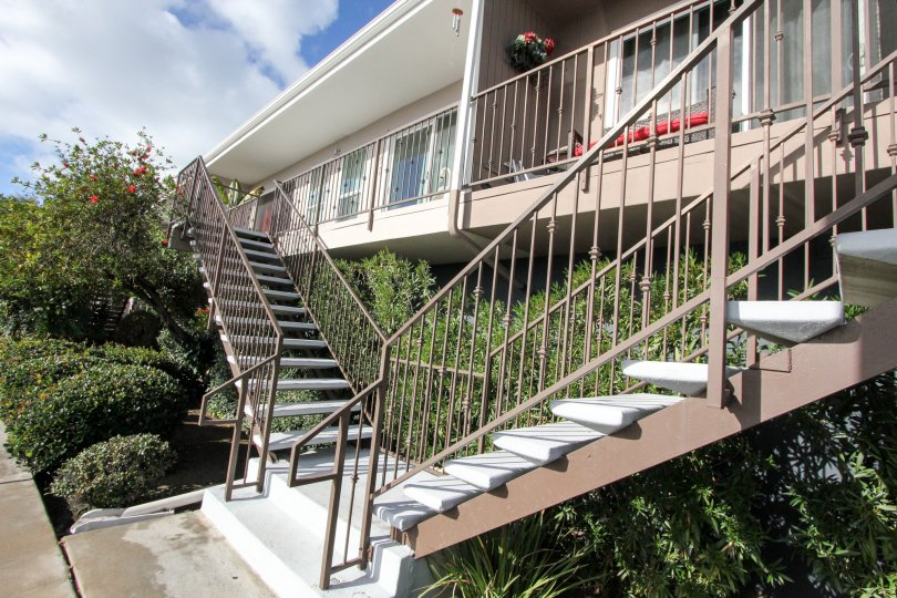 Sunny housing in California america with stairs sunny day