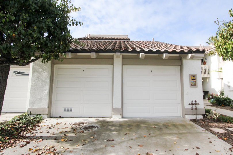 Two car garage near residence at Kingston Court in Coronado California