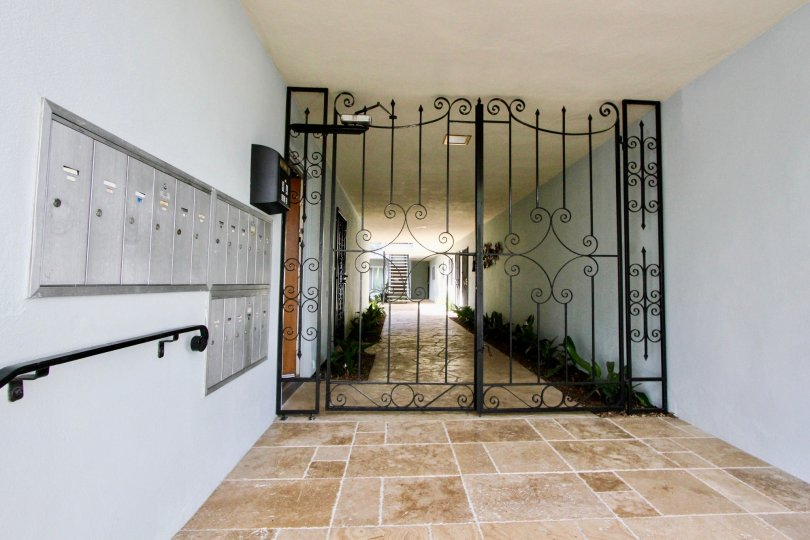 Gate of a driveway of a building in Le  Martinique of the city of Coronado in California