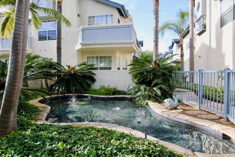 Beautiful multi-story apartments with lovely quad fountain in Coronado, California