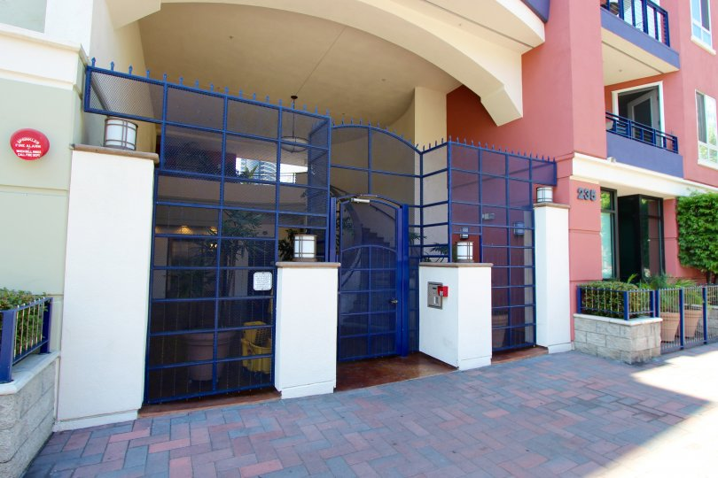 The safe and secure gated entry to the building at 235 Market in downtown San Diego, CA