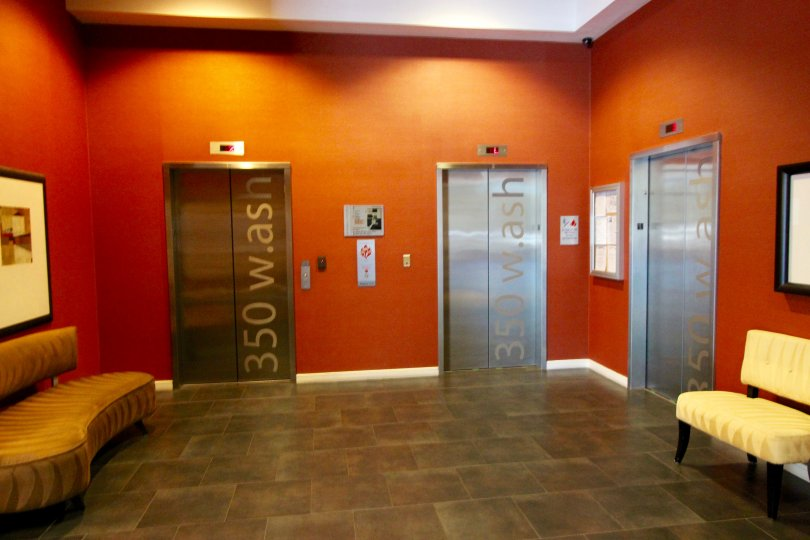 Bright and modern elevator bay at 350 West Ash in Downtown San Diego, California.