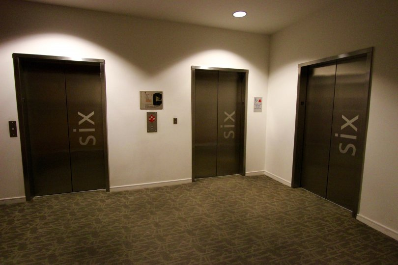 Well marked floor level of 3 elevators of the condo at 350 West Ash