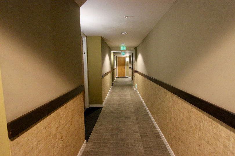 350 West Ash, Downtown San Diego, California, carpeted hallway with two exits