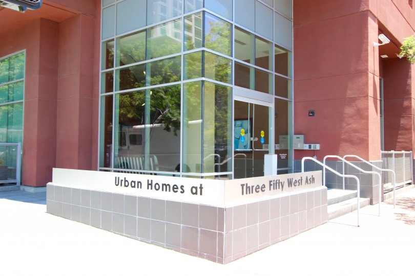 Glass entryway of Urban Homes at 350 West Ash, Downtown San Diego, California