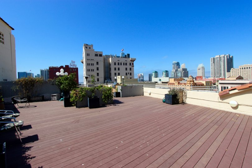The roof patio at Samuel Fox Lofts in San Diego