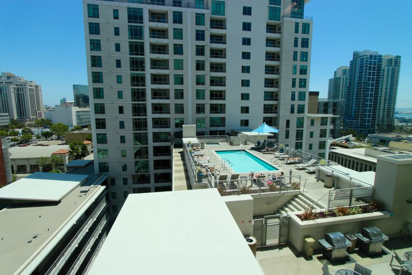 Roof top pool in Acqua Vista Downtown San Diego California