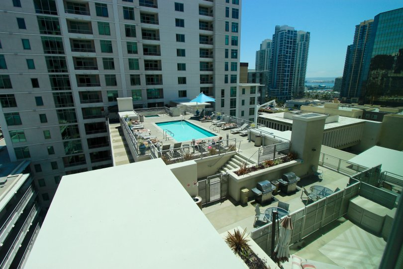 An overview of some tall buildings and a pool in Acqua Vista neighborhood