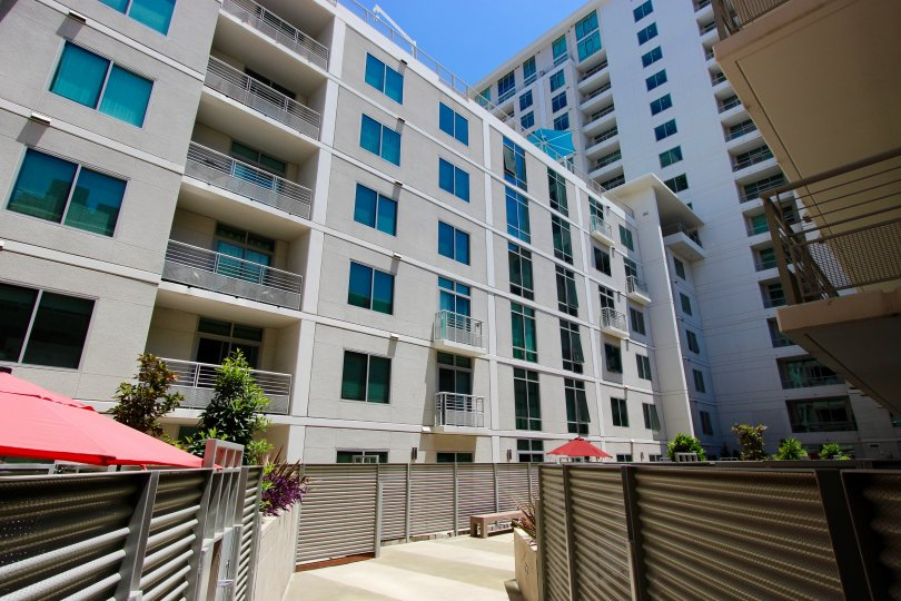 The Acqua Vista community located in Downtown San Diego CA under blue skies.